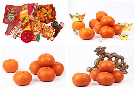 Isolated of  series of preparation for the worship of goddess of good fortune according to Chinese tradition and Golden orange with silver ,gold of silver ingots ,Golden dragon statue on wood,
