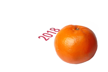 Mandarin-Honey Murcott oranges  with 2018 on white background,Golden orange to celebrate the Chinese festival.  Stock Photo