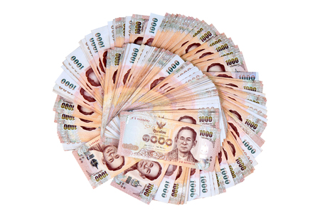 Currency the 1000 Baht of Thailand banknotes lay spread double. Stock Photo