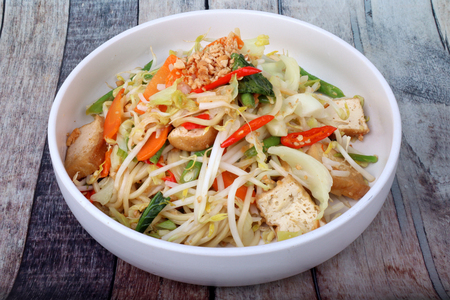 Auspicious food festival of Chinese people,Sour and sweet fried Chinese noodle with vegetable,Organic food to give a better life of the Chinese people. Stock fotó - 111071894
