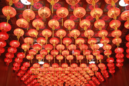The red lantern in Chinese art,good hanging on the ceiling in the Chinese temple for Chinese Festival.