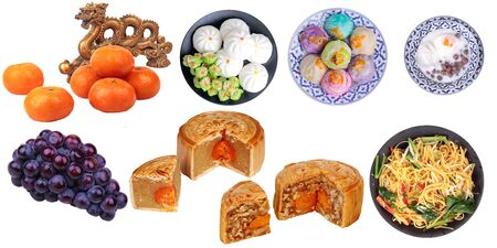 Isolated food for Chinese mooncake festival as friut, varities mooncake,fried chinese noodle and Chinese traditional desert. on white background. 版權商用圖片