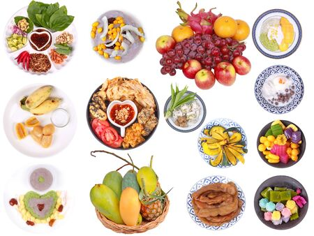 Isolated food for the mixed fruits and desserts of Chinese vegetable food  festival as mixed  friut, varities vegetable food  and Chinese traditional desert on white background. 版權商用圖片
