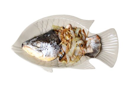 Thai Chinese recipe,Ginger steamed salmon head served in fish dish.