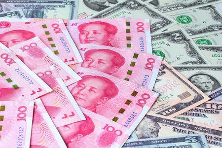 USA  and Yuan Banknote flat lay Stock fotó
