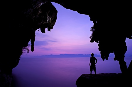 pioneers: Man in the cave  at Krabi Thailand Stock Photo