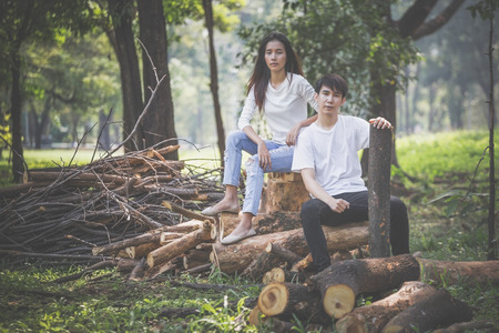 teenage students refuse cut the tree , love the earth and nature concept