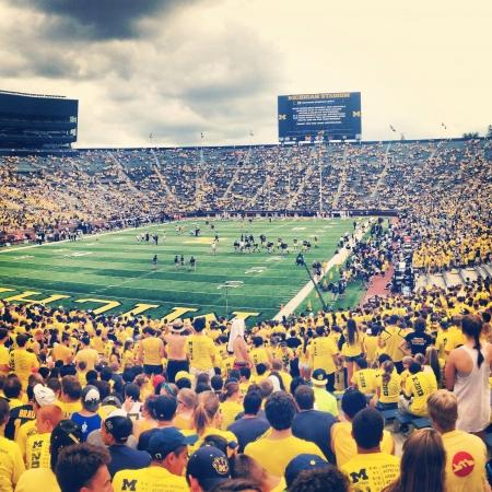 Student section of the Big House at Michigan Stadium 版權商用圖片