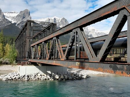man made structure: old metal railroad bridge in canadian rockies Stock Photo