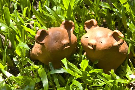 Twin  baked-clay pigs on the green  grass, Thailand photo