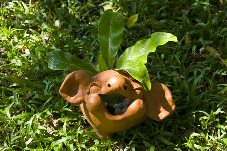 Single baked-clay pig on the green grass, Thailand Stock Photo - 6827616