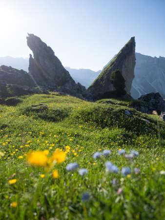 Wandern bei der Seceda in Suedtirol Italien - Seceda in the Dolomites in Italy