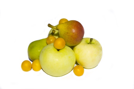 Apples, pears and cherry-plums isolated  photo