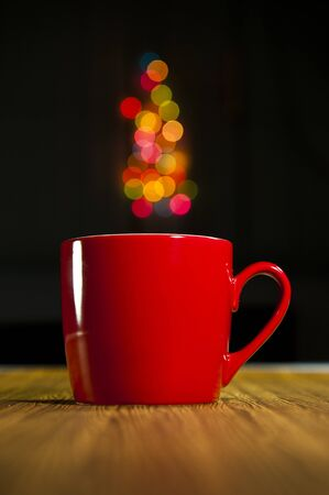 coffee mug: A cup with bokeh