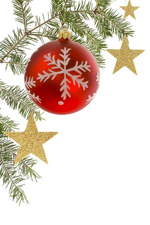 White Christmas background bordered with fir tree twig, bauble and stars Stock Photo - 3937175