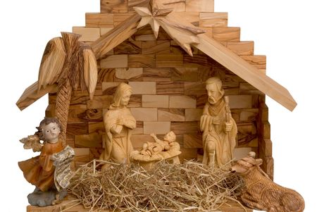 creche: Nativity Scene made of wood, isolated on white Stock Photo
