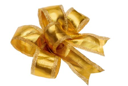 Nice golden bow on pure white background photo