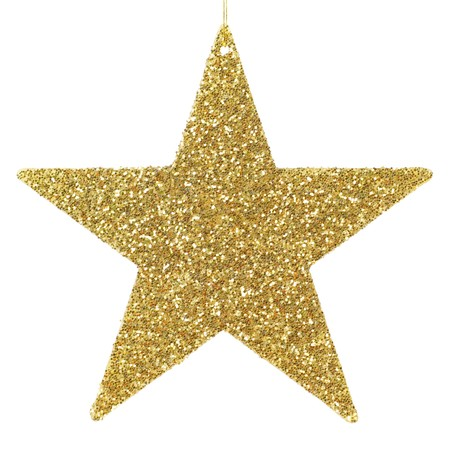 stars: Golden glittering star shaped Christmas ornament isolated on pure white background