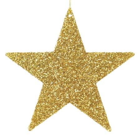 etoile or: Golden scintillant ornement en forme d'�toile de No�l pur isol� sur fond blanc Banque d'images
