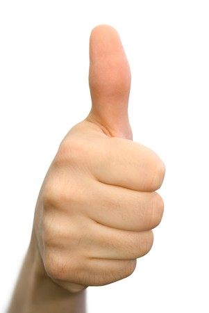 compliment: Encouraging hand gesture, isolated on white Stock Photo