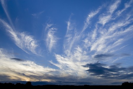 Beautiful cirrus clouds at sunset Stock Photo - 4181994
