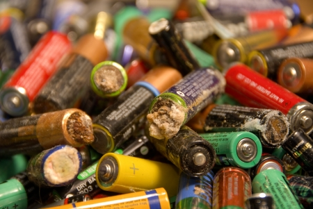 hazardous waste: Lots of extremely old batteries looking quite dangerous