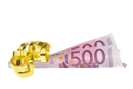 Isolated roll of 2 five hundred Euro banknotes decorated as a gift Stock Photo - 4370879