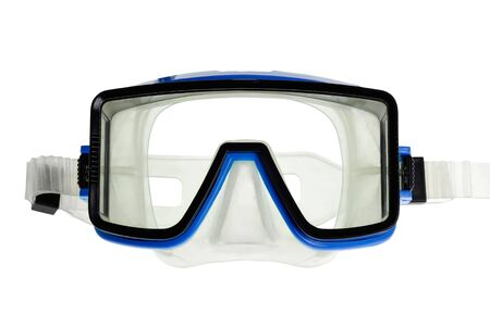 Isolated diver eyeglasses with blue and black frame photo