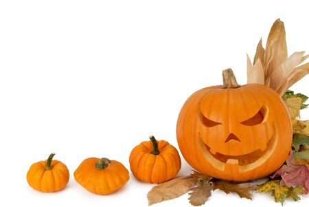 Jack-o-lantern, small pumpkins and foliage adorn the white copyspace photo