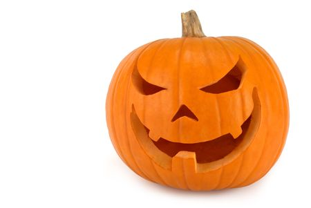 jackolantern: Spooky Jack-o-lantern with evil lopsided grin on white background