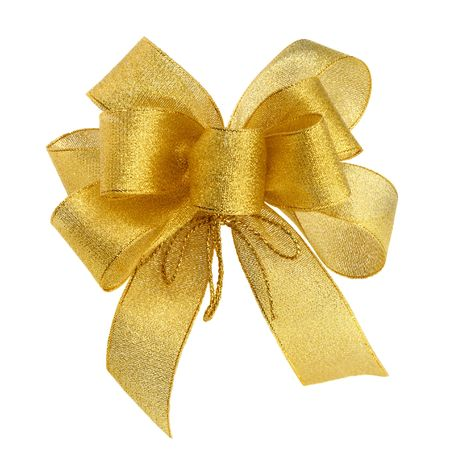 Ornamental golden bow on pure white background photo