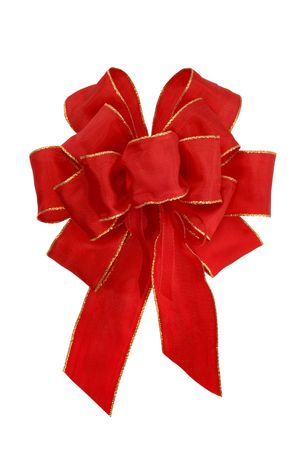 Smart red bow with golden edges, isolated on pure white photo