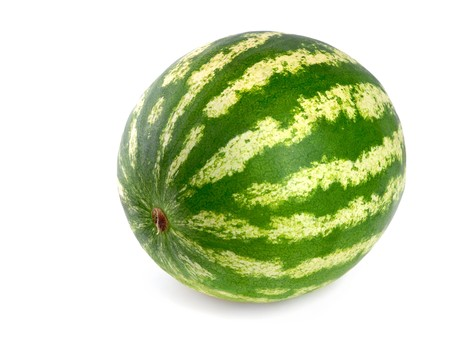flawless: Studio shot of a flawless whole watermelon isolated on pure white