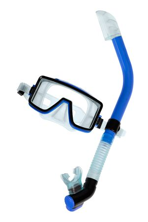 Clean studio shot of blue diving goggles with snorkel on white background photo