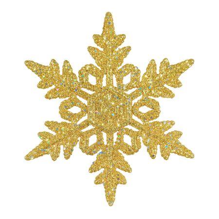 gold decorations: Ornamental copo de nieve oro resplandeciente sobre fondo blanco puro  Foto de archivo