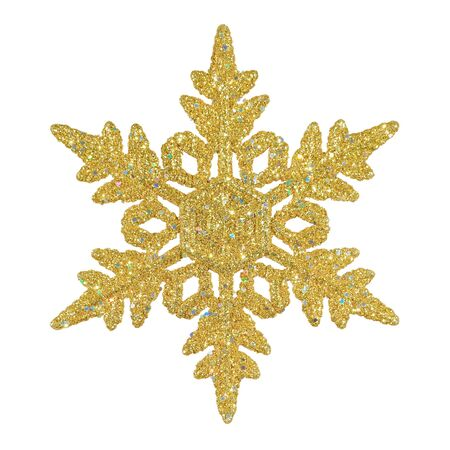 gold snowflakes: Ornamental golden snowflake glittering on pure white background