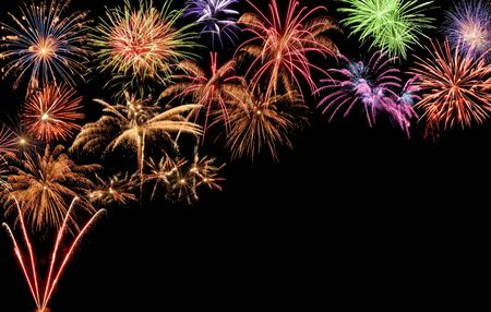 Fantastic colorful fireworks with black copyspace, perfect for the New Year, Independence Day or other celebrations