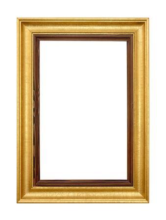 Studio shot of an elegant gold wooden frame isolated on white photo