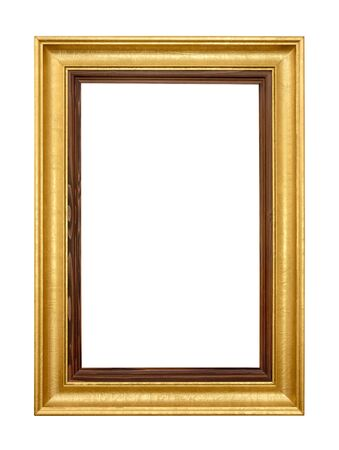 free border: Studio shot of an elegant gold wooden frame isolated on white Stock Photo
