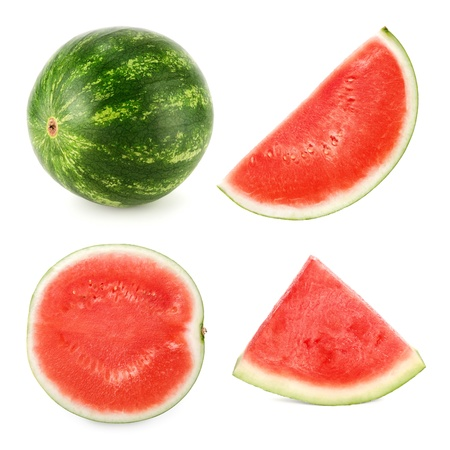 Set of 4 studio shots of a seedless ripe watermelon cut differently and whole photo