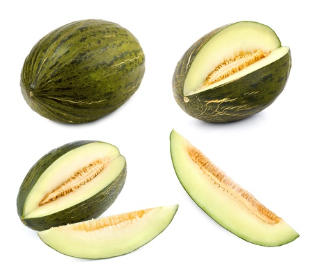 Set of 4 studio shots of a green melon cut differently and whole photo