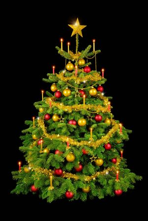 Perfect Christmas tree with shiny ornaments and candles isolated on black photo