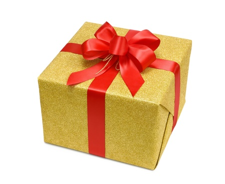 Gold gift box with smart red bow photo