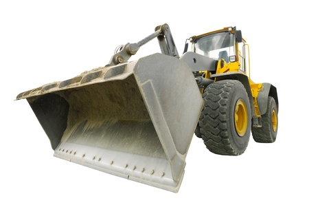 backhoe: Impressive perspective of a dusty bulldozer, isolated on pure white background