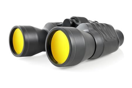 Studio shot of modern binoculars with yellow lenses on white background Stock Photo - 12394251