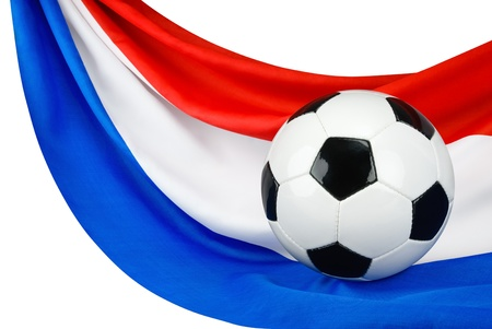 Soccer ball on a Dutch flag hanging in a spiffy way as a symbol for Holland's love of football Stock Photo - 13724606