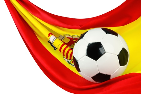 Soccer ball on a Spanish flag hanging in a spiffy way as a symbol for Spain photo