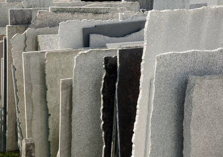 Row of natural stone panels in a mason photo