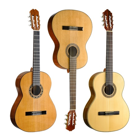 fretboard: Set of three classical or spanish acoustic guitars, isolated on white background