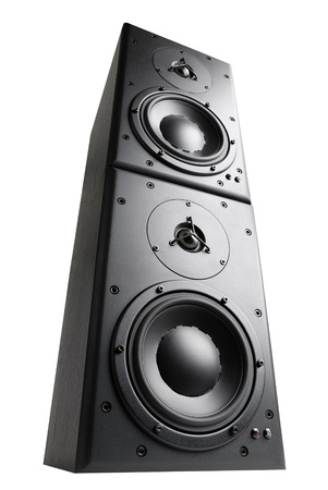 Modern black loudspeakers towering on top of each other, isolated studio shot
